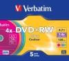 DVD+RW 4,7 Гб 2-4х.Slim Verbatim Colours