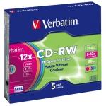 диск CD-RW 700 Мб  8-12х перезаписываемый Slim Verbatim цветные (5 шт)