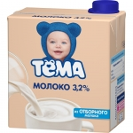 """Молоко питьевое ультрапастеризованное """"Тема""""с крышкой 3,2%"""