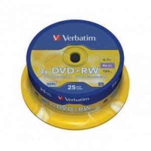 DVD+RW 4,7 гБ, 4х, Verbatim на шпинделе