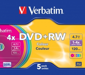 DVD+RW 4,7 Гб 2-4х.Slim Verbatim Colours