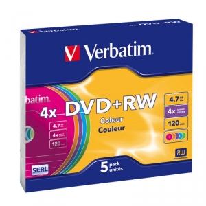 DVD+RW 4,7 Гб перезаписываемые 2-4х.Slim Verbatim (5 шт)