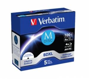 диск BD-R XL M-disc 100 Гб запис. 4х. 5 шт. Jewel Verbatim