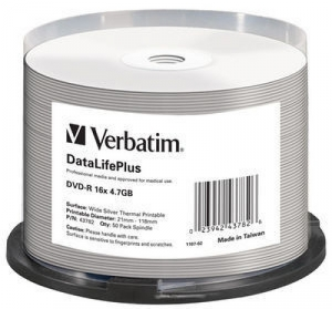 Диск DVD-R 4,7 Гб запис. 16х. 50 шт. на шпинд. Verbatim DataLifePlus